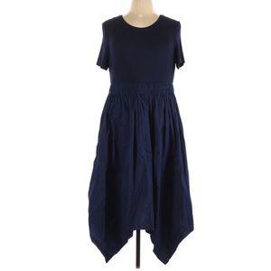 Donna Karan Short Sleeve Asymmetric Midi Dress XL